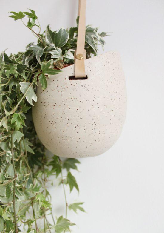 speckled stoneware hanging planter